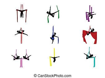 set, acrobati aerei