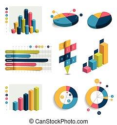 set, affari, charts., 3d, grafici, infographics., disegno, cubi, cerchio, colummn, design.