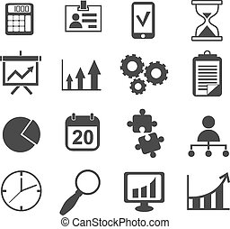 set, affari, marketing, vettore, analista, icona