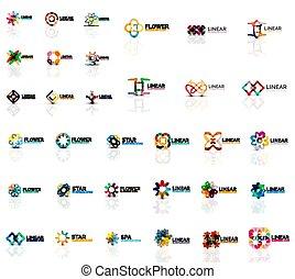 set, affari, mega, astratto, collezione, simmetrico, logotipo, geometrico, icona