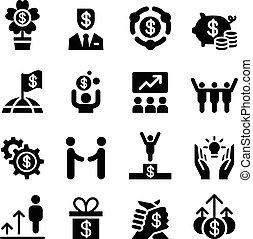 set, affari, successo, icona
