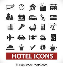 set, albergo, vettore, icone