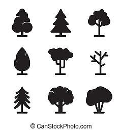 set, albero, icone