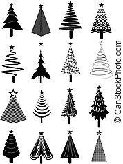 set, albero, natale, icone