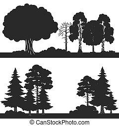set, albero, silhouette, vettore, foresta nera, fondo
