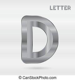 set, alphabet., inossidabile, letters., metallico, 3d