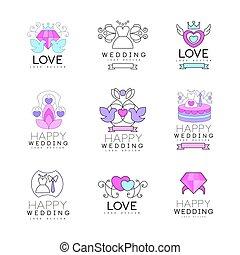 set, amore, colorito, collezione, illustrazioni sposano, logotipo, disegno