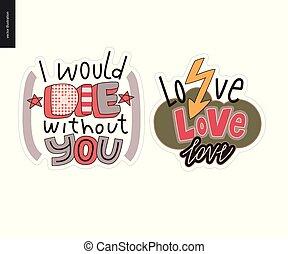 set, amore, contemporaneo, lettera, logotipo, girlie