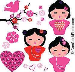 set, amore, geisha, isolato, elementi, floreale, giappone bianco