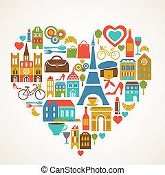 set, amore, icone, -, illustrazione, vettore, pars