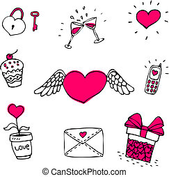 set, amore, icone