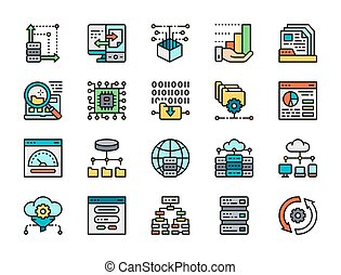 set, analisi, programma, icons., dati, linea, algorithm, database, hosting, colorare