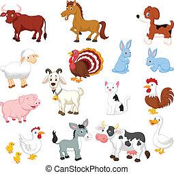 set, animale, collezione, fattoria