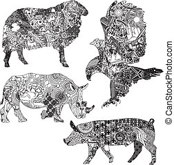 set, animali, orname, etnico
