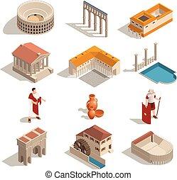 set, antico, isometrico, roma