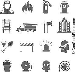 set, antincendio, icone