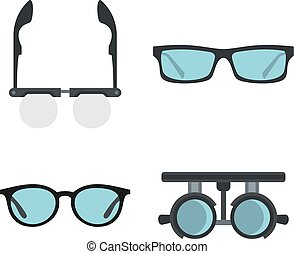 set, appartamento, stile, occhiali, icona