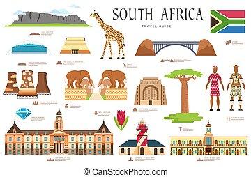set, architettura, africa, infographic, disegno, beni, stile, moda, concept., vacanza, sagoma, features., appartamento, natura, fondo, locali, persone, paese, articoli, guida, sud, viaggiare