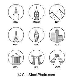 set, arte, icone, punto di riferimento, mondo, linea