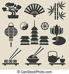 set, asiatico, icone
