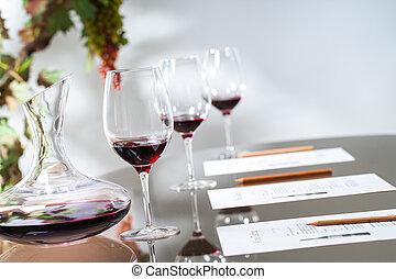set, assaggio, glasses., caraffa, tavola, vino