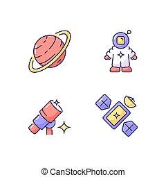 set, astronautic, rgb, colorare, icone