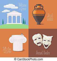 set, atractions, turistico, greco, vettore, illustrazioni