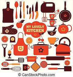 set, attrezzi, cucina, icone