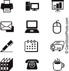 set, attrezzi, ufficio affari, icona