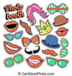 set, baffi, foto, cappelli, occhiali, cabina, festa