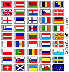 set, bandiere, europeo