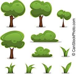 set, barriere, foglie, albero, erba, cartone animato