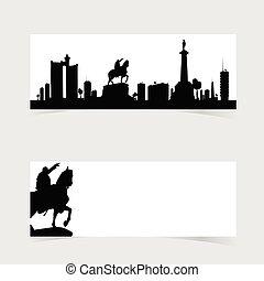set, belgrado, illustrazione, famoso, monumento, bandiera, icona