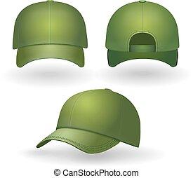 set., berretto, isolato, realistico, vettore, baseball, fronte, verde, vista laterale