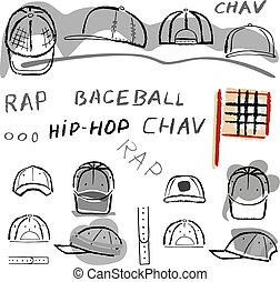 set, berretto, tennis, baseball, chav, rap
