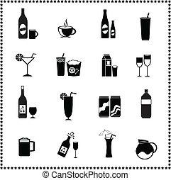 set, bibite, bevande, icone