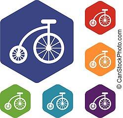 set, bicicletta, bambini, icone