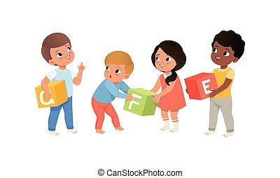set, blocchi, bambini, illustrazione, alfabeto, poco, gioco, vettore