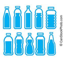 set, bottiglia, plastica