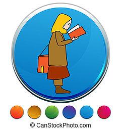 set, bottone, musulmano, libro, lettura ragazza