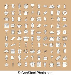 set, caffè, tè, icone
