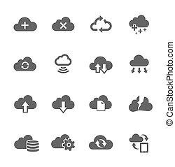 set, calcolare, semplice, relativo, nuvola, icona