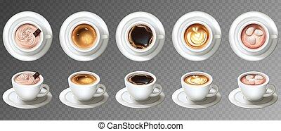 set, campanelle, caffè, realistico