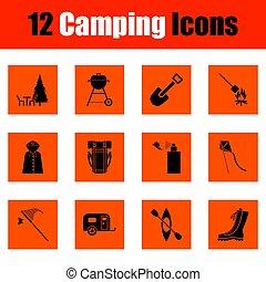 set, campeggio, icona