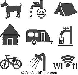 set, campeggio, icone, -, 1, vettore