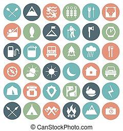 set, campeggio, icone