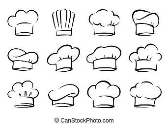 set, cappelli, mano, chef, cuoco, disegnato