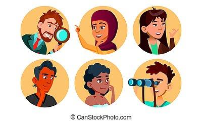 set, carattere, multicultural, vettore, curioso, felice