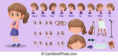 set, carino, espressioni, lei, differente, ragazza, faccia