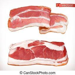 set, carne, bacon., realistico, vettore, fresco, 3d, icona